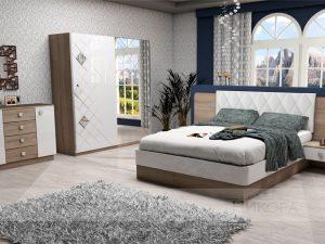 Спалня Кристал включва легло, гардероб и нощни шкафчета
