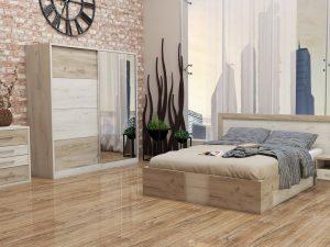 Спалня Монтана включва легло, гардероб и нощни шкафчета