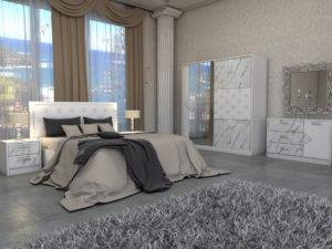 Спален комплект Мармара - бял гланц и мрамор