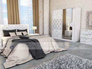 Спален комплект Мармара в бял цвят с мрамор и еко кожа