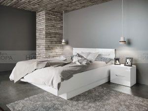 Легло с нощни шкафчета Noir - бял гланц